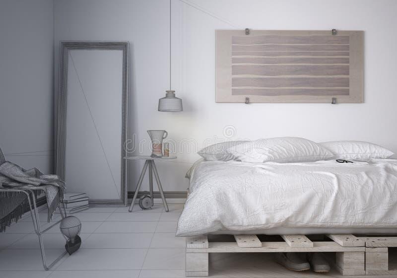 最小的卧室未完成的项目草稿剪影有diy板台木床的,当代建筑学室内设计 库存照片