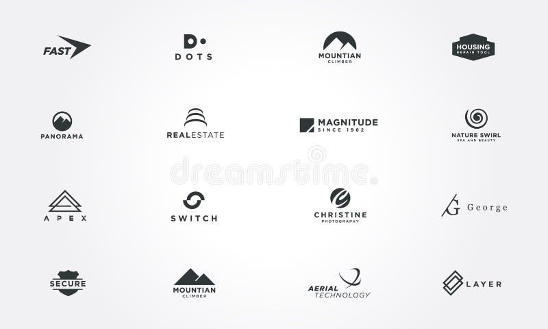 最小的商标设计汇集概念 创造性的设计传染媒介例证 向量例证