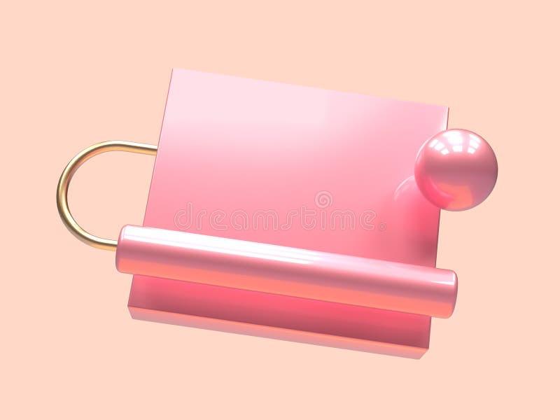 最小的场面桃红色金子金属几何形状升空3d回报抽象符号 库存例证