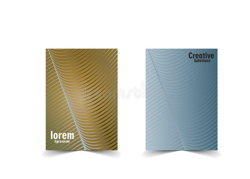 最小的封面设计 与金子和蓝色背景的抽象波浪线 向量例证