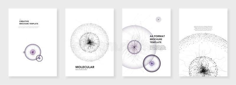 最小的小册子模板 在白色背景的分子模型 技术科学幻想小说或医疗概念,抽象传染媒介设计 免版税库存图片