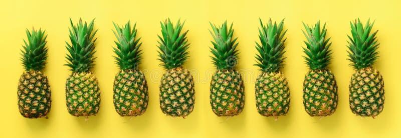 最小的样式的明亮的菠萝样式 顶视图 流行艺术设计,创造性的概念 复制空间 钞票 新鲜 库存图片