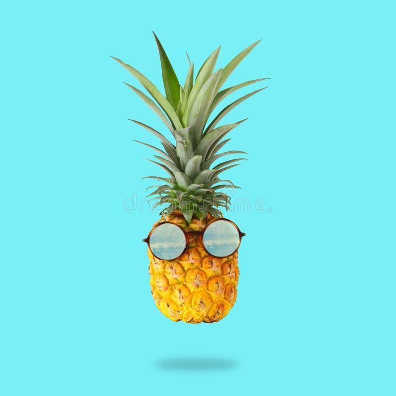 最小的概念 与太阳镜的逗人喜爱和滑稽的菠萝在薄荷的背景 库存图片