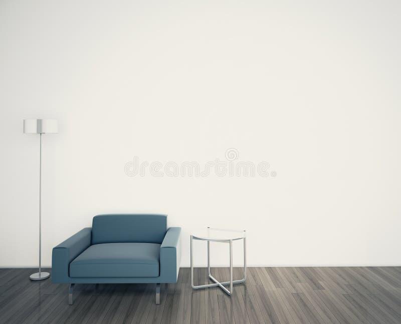 最小的现代内部扶手椅子表面死墙 库存例证