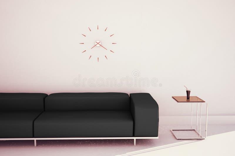 最小的现代内部长沙发和桌 免版税库存照片