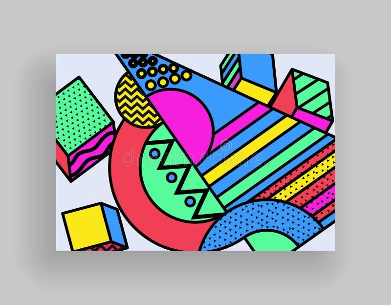 最小的盖子设计 招贴模板设置与抽象几何形状,80s孟菲斯明亮的样式平的设计 向量例证