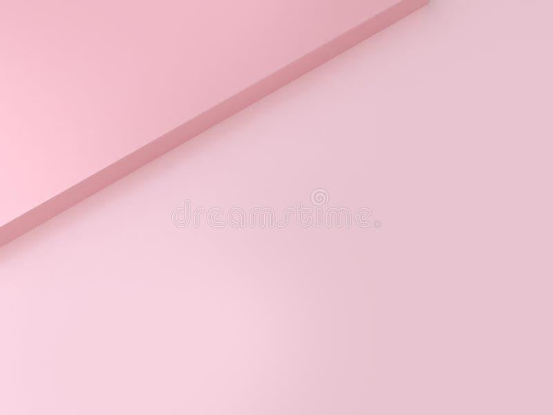 最小的背景空白的平的地板角度角落摘要桃红色背景3d回报 向量例证