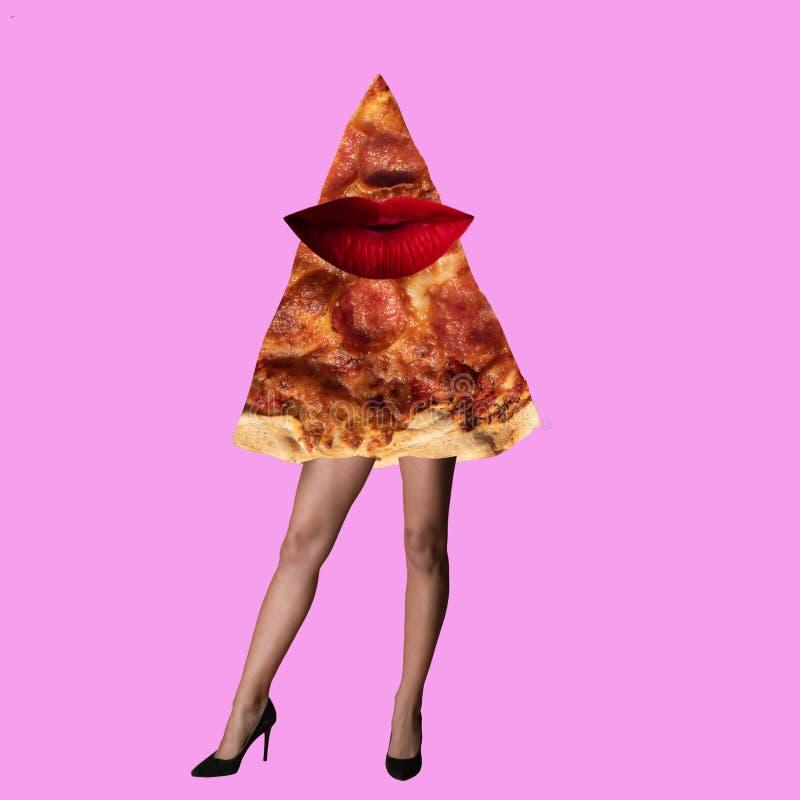最小的设计时尚概念红色嘴唇和比萨 库存图片