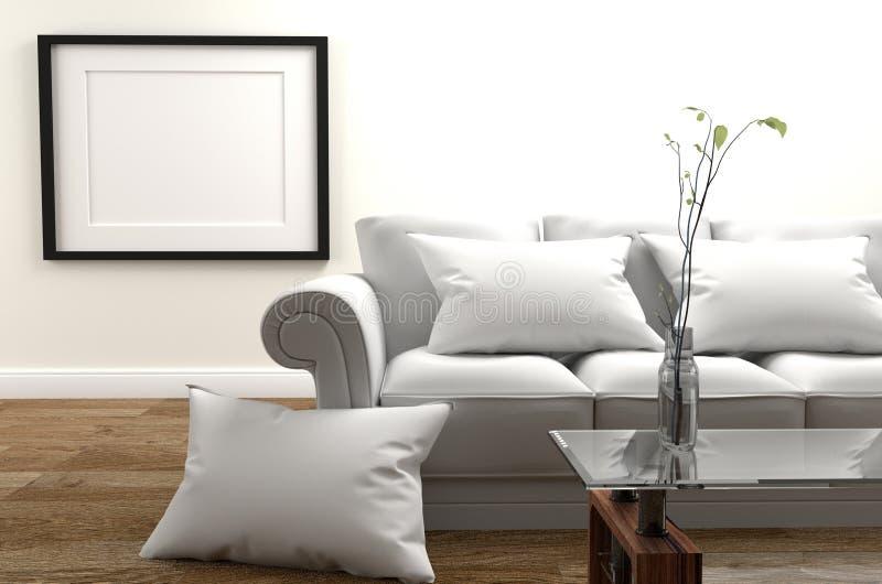 最小的设计-有沙发的现代客厅和枕头、花瓶在玻璃桌上,木地板和名望在空的白色墙壁上 皇族释放例证