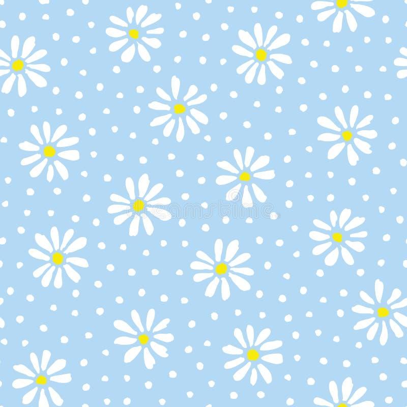 最小的逗人喜爱的手画雏菊和小点在天蓝色背景传染媒介无缝的啪答声 春天夏天花卉图案 皇族释放例证