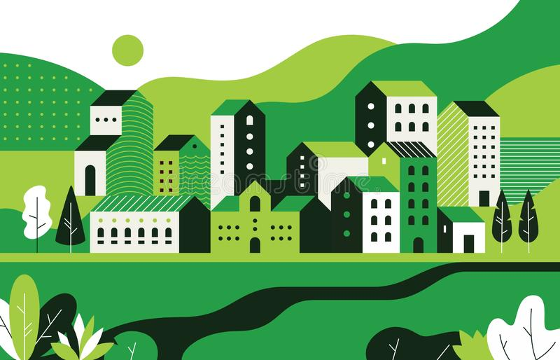 最小的都市风景 与几何大厦和自然环境,城市街道样式的平的风景 传染媒介几何 皇族释放例证