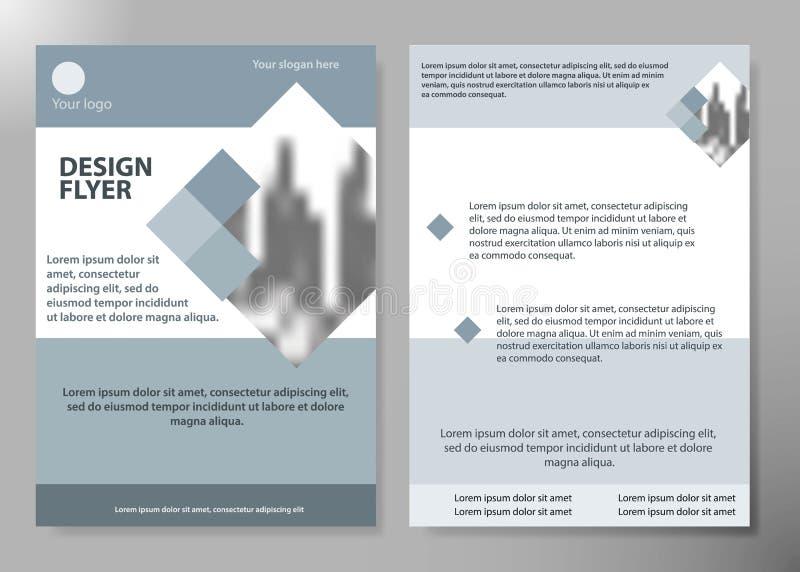 最小的飞行物报告商业期刊海报布局股份单模板 小册子设计模板传染媒介 方形的布局 向量例证