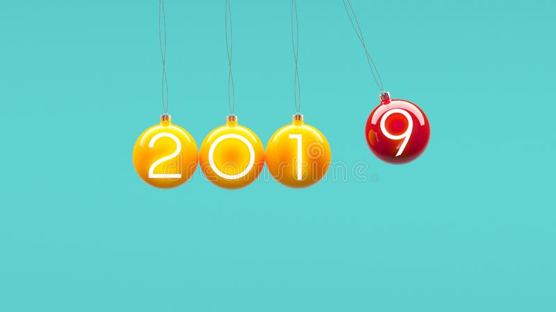 最小的2019新年概念:在蓝色背景的圣诞节球 库存例证