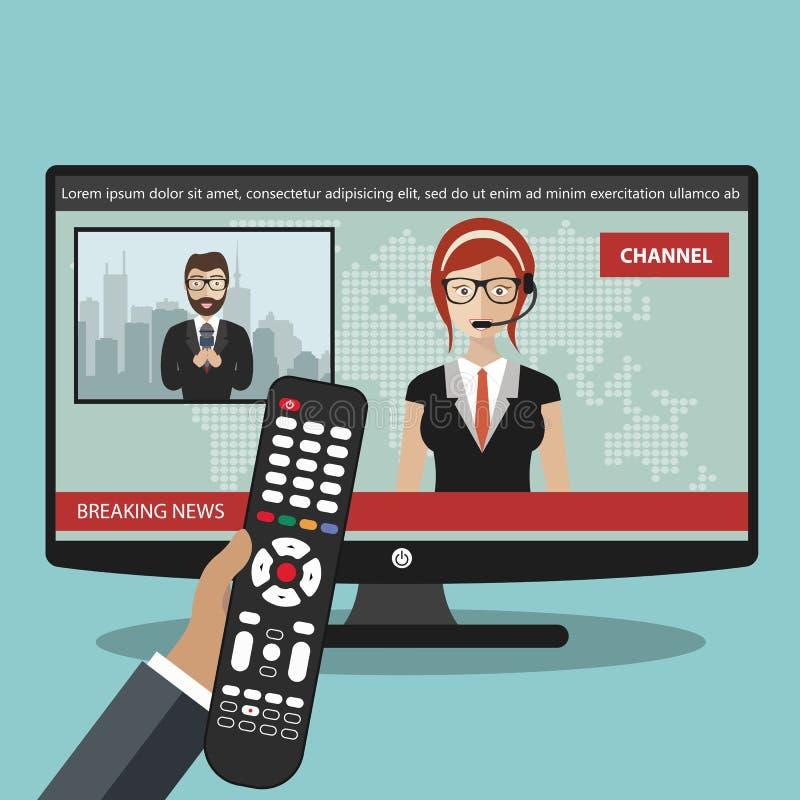 最新新闻概念 在电视上的新闻有遥控的 播放与记者的新闻船锚新闻在屏幕上居住 f 库存例证