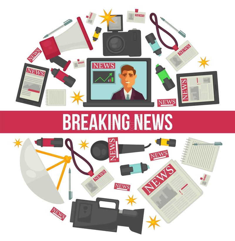 最新新闻记者新闻事业传染媒介海报 向量例证