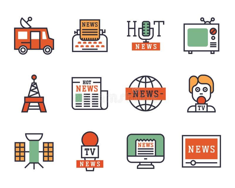 最新新闻象平的样式五颜六色的集合网站机动性和打印装置报纸通信概念互联网 库存例证