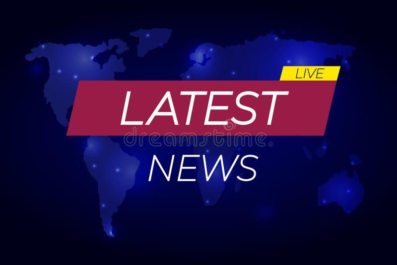 最新的新闻:导航例证,在世界地图,企业技术最新的新闻背景的横幅 库存例证