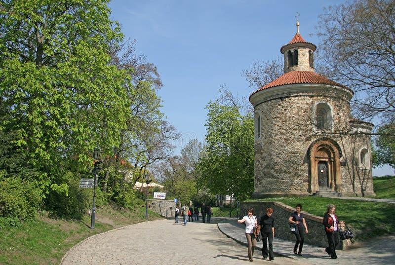 最旧圆形建筑圣马丁在Vysehrad,布拉格,捷克 图库摄影
