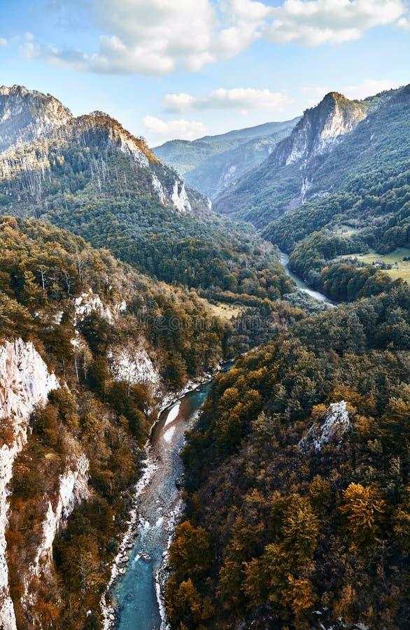 最深的峡谷在欧洲 塔拉河峡谷 黑山 库存照片