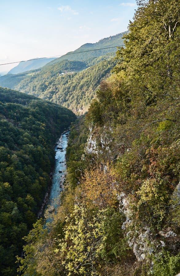 最深的峡谷在欧洲 塔拉河峡谷 黑山 免版税图库摄影