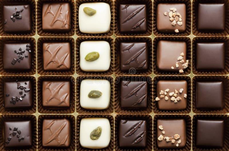 最细致配件箱的巧克力 库存图片
