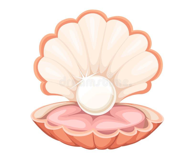 最美好的现实唯一可贵的对象图象例证网站pag的质量美好的自然开放珍珠壳关闭 向量例证