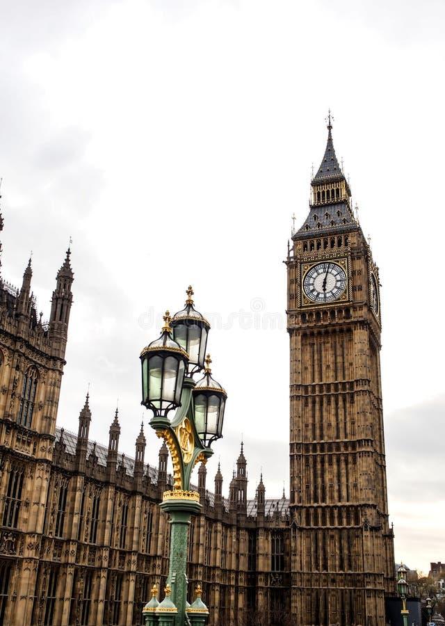最著名的伦敦地标大本钟钟楼 免版税库存图片