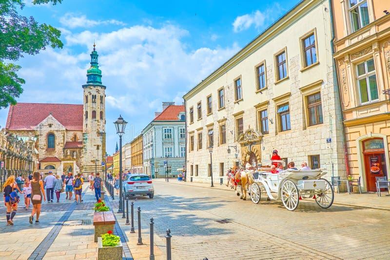 最著名的Grodzska街在克拉科夫,波兰 库存图片