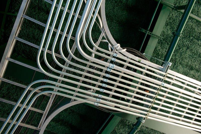 最近安装的电子输送管道连接点 库存照片
