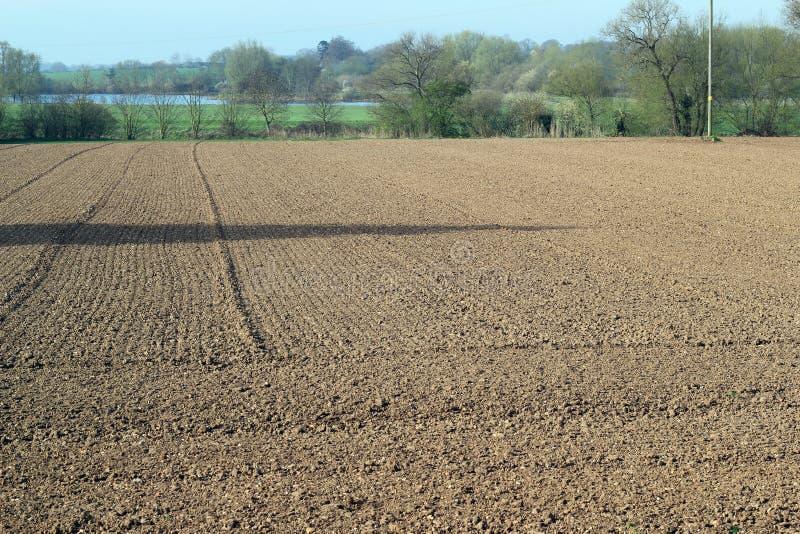 最近被耕的土地。 免版税库存照片