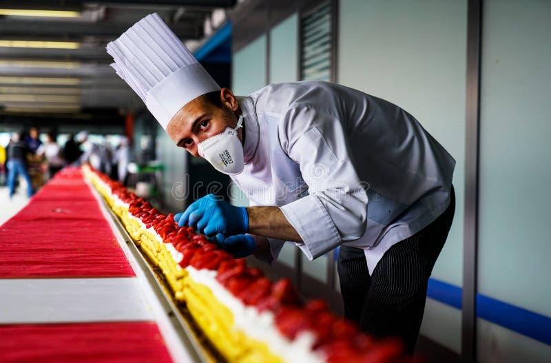最长的草莓蛋糕在世界上 免版税图库摄影