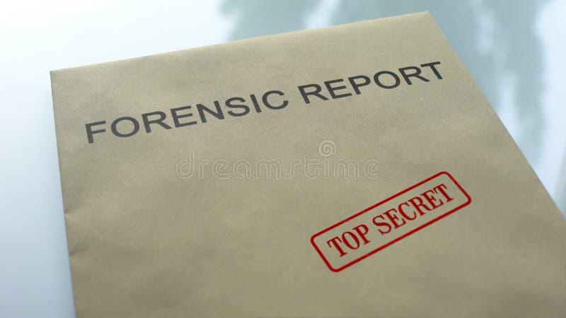 最高机密法庭的报告,在与重要文件的文件夹盖印的封印 库存照片