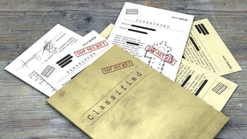 最高机密的文件,被解密的,机密资料,秘密文本 非公享信息 免版税库存照片