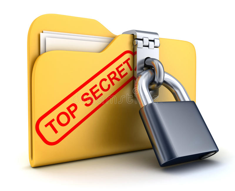 最高机密的文件和锁 向量例证