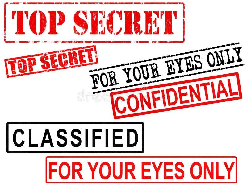最高机密,机要,被分类的文件难看的东西标志 库存例证