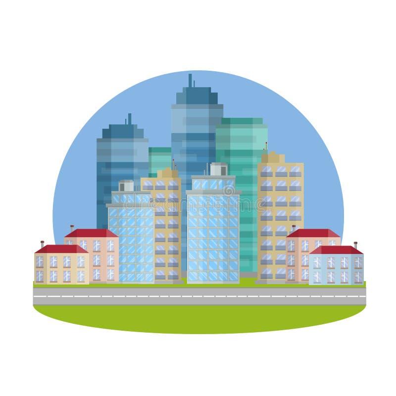 最高的摩天大楼 城市的商业中心 向量例证
