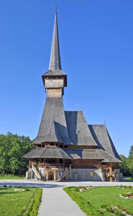最高的木教会- Sapanta仙子, Maramures 库存照片