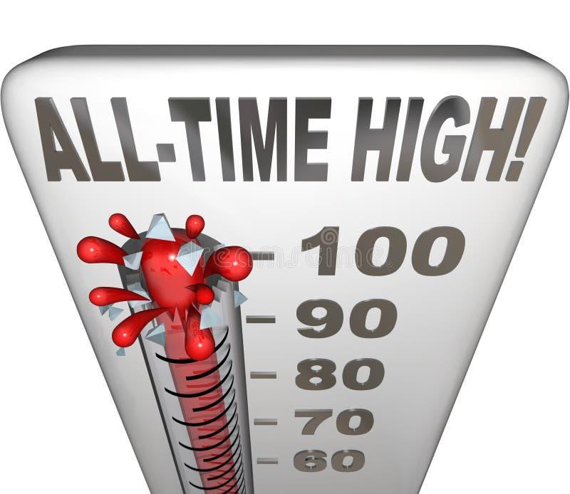 最高纪录破纪录者温度计热的热比分 免版税库存照片