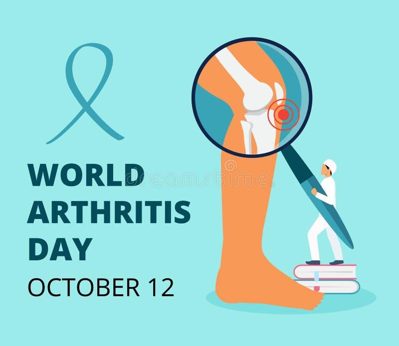 10月世界关节炎日 小医生治疗风湿、骨关节炎 保健扁平概念向量 向量例证