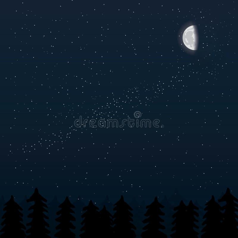 月亮、夜森林和星 皇族释放例证