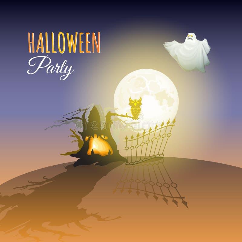 月亮、鬼魂、猫头鹰、树和词万圣夜集会 向量 库存例证