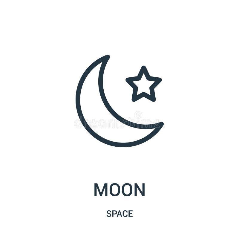 月亮从空间汇集的象传染媒介 稀薄的线月亮概述象传染媒介例证 库存例证