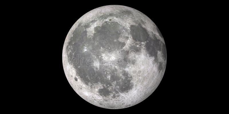月亮充分的天空空间黑背景 库存例证