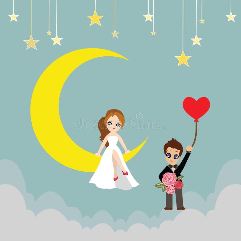 月亮动画片传染媒介的恋人 库存例证