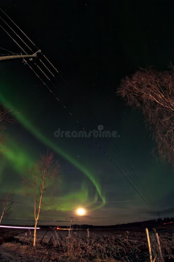月亮和北极光 免版税库存图片