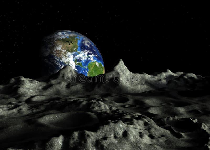 月亮和地球的火山口 皇族释放例证