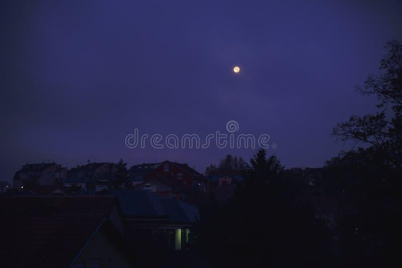 月亮和小镇 库存照片