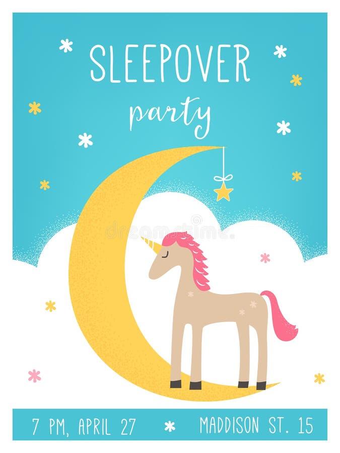 月亮和独角兽Sleepover孩子党卡片 向量例证