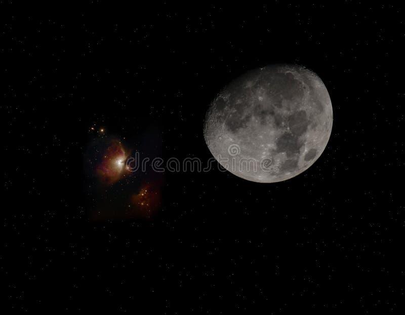 月亮和猎户星座 库存照片