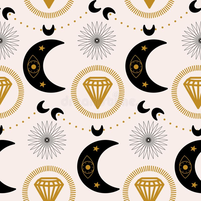 月亮和金刚石在一个几何样式设计 向量例证